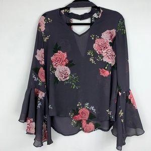 Sheer floral bell sleeves chocker collar blouse